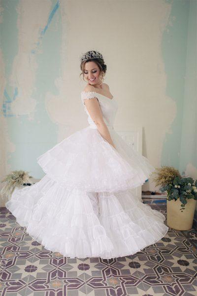 Falda canastera de organza para novia